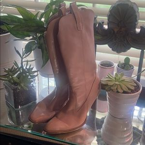 BCBGIRLS pink leather  cowgirl boots